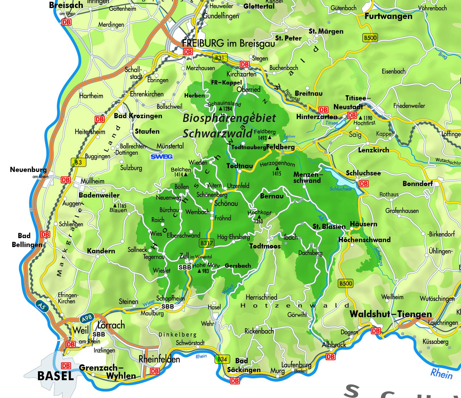 Karte Biosphärengebiet Südschwarzwald