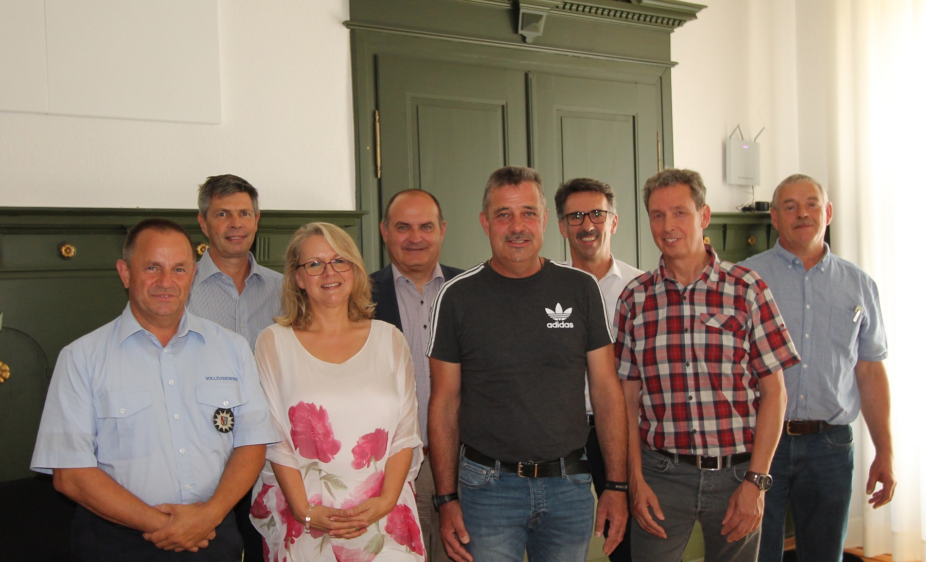 v.l.: Mario Bertolotti, Bürgermeister Christof Nitz, Anja Becker-Nikolai, Thomas Spohn, Bernd Lange, Jürgen Sänger, Bernhard Karle, Andreas Gaenzle