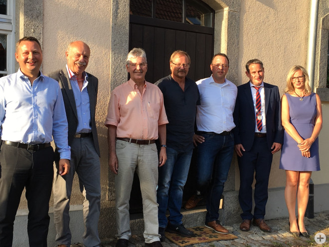 Michael Schwald, Peter Trüby, Wolfgang Bühler, Willi Dörflinger, Rudolf Wasmer, Bürgermeister Dirk Harscher, Janett Raetz