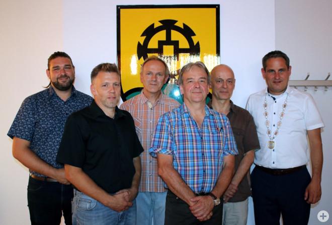 Florian Lüttner, Michael Schmidt, Gerold Schmidt, Peter Ulrich, Thomas Speier, Bürgermeister Dirk Harscher