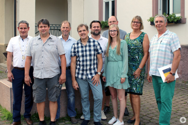 Bürgermeister Dirk Harscher, Jörg Schön, Walter Würger, Frank Schirmeier, Hans Jörg Sprich, Dinah Frey, Dirk Oßwald, Karlheinz Markstahler