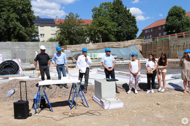 Grundsteinlegung der neuen Sporthalle am 20. Juli 2020