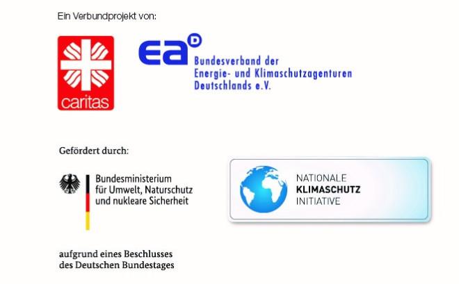 SSC-Logoleiste die Kombination von Caritas- und eaD-Logo sowie die Kombination von BMU-und NKI-Logo