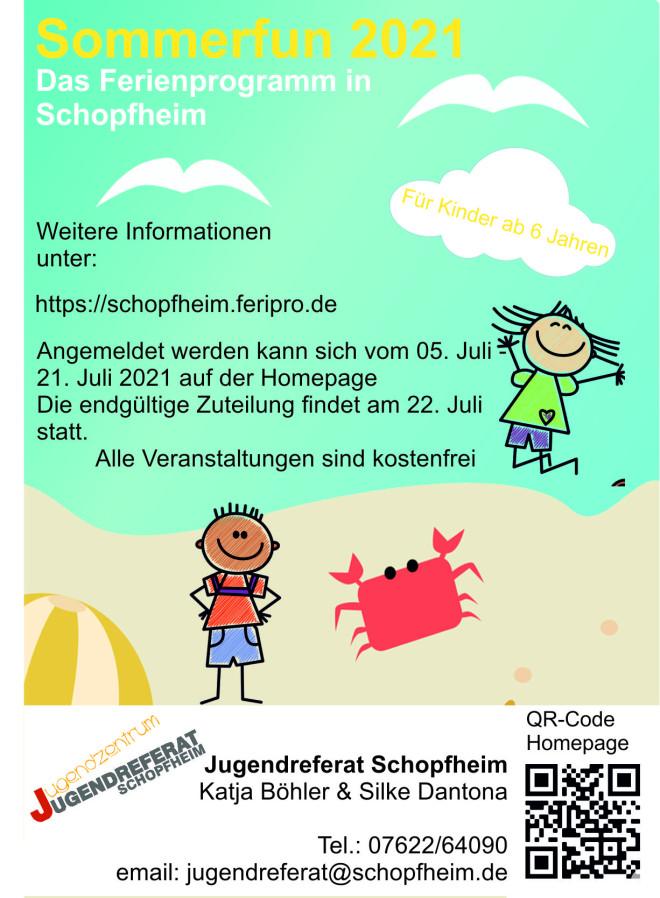 Webeflyer Sommerfun für Kinder ab 6 Jahren 2021